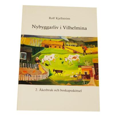 Vackert illustrerad bok med jordbrukslandskap på omslaget. Fjällko och get.